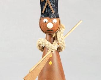 Teak Danish guard or soldier figurine with bottle opener
