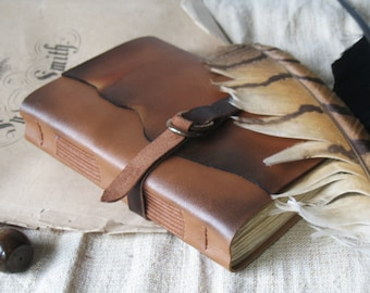 rustic leather journal - brown vintage style notebook, blank book, travel diary - leather cover, vintage style paper