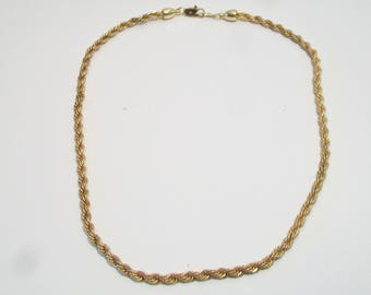 Vintage Rope Chain Necklace Classic Design Costume Jewelry For Her Gold Tone