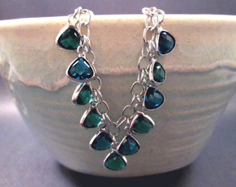 Silver Charm Bracelet, Blue and Teal Glass Bezels, Beaded Chain Bracelet, FREE Shipping U.S.