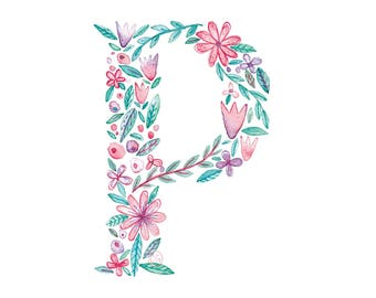 P Uppercase p | Letter, typographic, alphabet. Wall art, print, gift, watercolour, floral