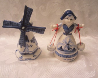 Blue Delft Windmill with Spinning Blades and Dutch Girl Carrying Two Pots of Water