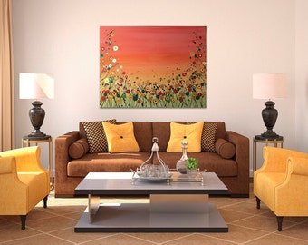 Flowers, Floral wall art, large painting, floral painting, splatter art, flower art, colouful, bright, oranges, reds, yellows, sunset heaven