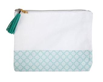 Love+Lemon Cosmetic Bag, Tassel Zipper Pull, Blue/White Pattern (Style: 1059112106)