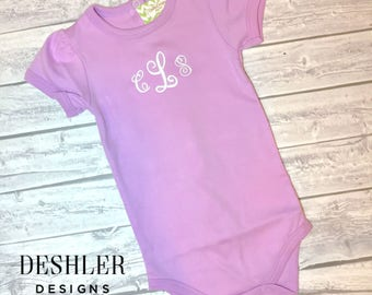 Purple Onesie, Purple onsie, Purple monogram onesie, Purple Monogrammed onesie, girls purple monogrammed onesie, purple onesie with initials
