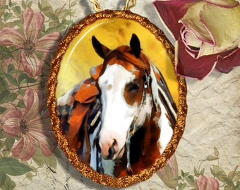 Paint Horse Jewelry Pendant Necklace Handcrafted Ceramic
