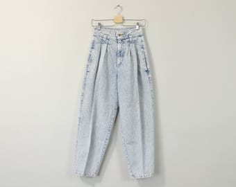 Acid Wash Jeans, High Waisted Jeans, Vintage 90s Jeans, 90s Mom Jeans, Relaxed Tapered Leg Jeans, Womens Jeans Size Size 4 / 6