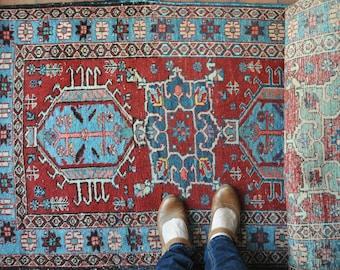 Antique Karaja runner rug, antique Persian rug, antique rug, long runner rug, Caucasian rug, tribal rug,  vintage Karajeh rug CAS94