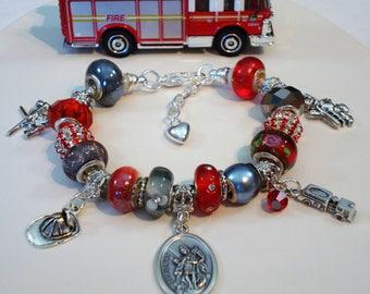 Firefighter St. Florian European charm Murano beads bracelet ladder helmet fire truck shield axes Saint Florian Help save a cat/kitten