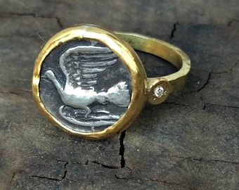 Ancient Coin  Ring , Statement Ring, Ancient Greek Coin ring, Solid 18kt gold and Diamond ring,Ancient coin Jewelry , Authentic coin