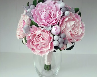 Wedding bouquet with peonies and brunei. Bouquet from polymer clay