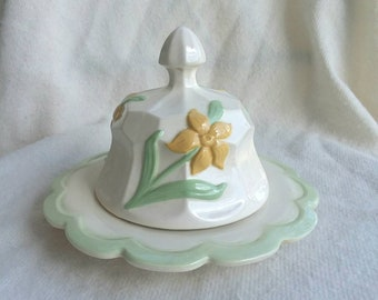 Vintage 1972 yellow flower ceramic butter dish with green trim. FREE SHIPPING