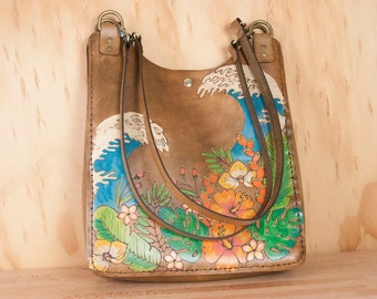 Leather Tote Bag for Women - Carryall in the Hanalei Pattern with Tropical Flowers and Waves - Snap Closure - Antique Brown, Green, Orange
