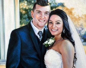Custom wedding portrait on canvas, large oil painting on canvas. 100% money-back guarantee