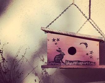 Handmade, Wooden Bird Cabin Decorated with Frisky Jack Rabbit Block Prints