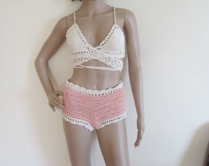 HIGHWAIST CHEEKY SHORTS,  crochet shorts, summer short,bikini cover,  beach cover up,  shorts, festival clothing, gypsy, boho,