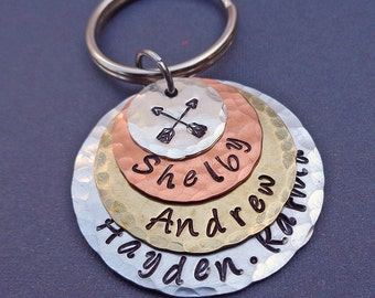 Friendship Keychain - My Friends Keychain - Custom Names Stack - Friendship Gift - Gift for Friends - K71