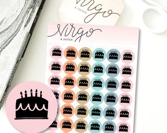 Birthday Cake Icon Hand Drawn Planner Stickers, Birthday Cake Doodle Mini Sticker Sheet IC15