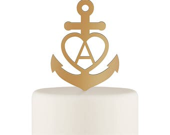 Gold Anchor Wedding Cake Topper, Wedding Cake Top Pick, Anchor with Initial Cake Top, Nautical Wedding Cake Decoration