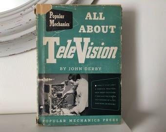 1952 All About Television TV Popular Mechanics Press Hardcover Vintage Book John Derby