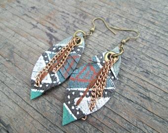 Leather Earrings - Feather Earrings - Ethnic Earrings - Tribal Earrings - Boho Chic Jewelry - Earthy Jewelry