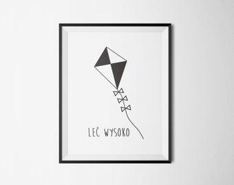 lec wysoko, latawiec, pplakat, poster, digital poster