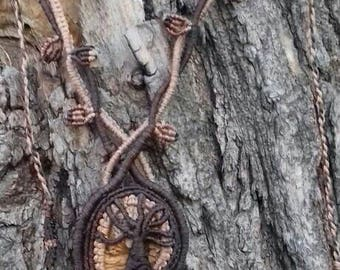 Picture stone Tree of life macrame necklace,Natural stone jewelry