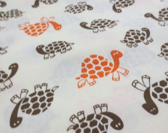 Vintage Turtle Print Fabric 2 2/3 Yards Cotton Blend Mod 60s 70s Novelty Print Brown Orange