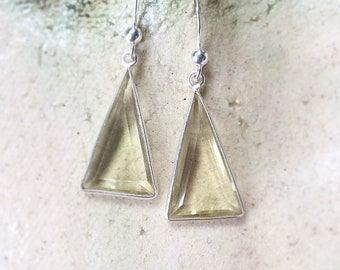 Sterling Silver and Lemon Quartz Drop Earrings