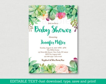 Floral Succulent Baby Shower Invitation / Succulent Baby Shower Invite / Watercolor Floral / Cactus / Editable PDF INSTANT DOWNLOAD A181