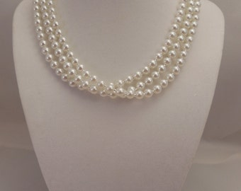 Very Elegant, Wedding Bridal Three Strand, Half Twisted Necklace with 6mm White Glass Pearls