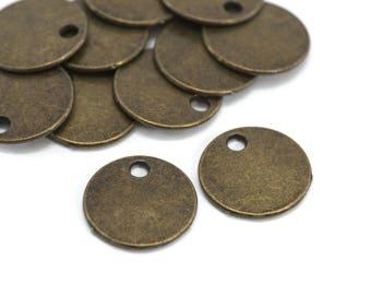 10 pendants Sequins simple round - Diam. 16 mm - Bronze color