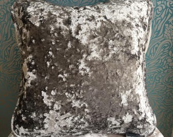 "16 x 16"" Luxury Piped Dbl SIded Crush Velvet Silver Cushion Cover Fibre Naturelle Panther"
