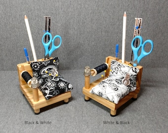 Sewing Caddy - Black and White or White and Black Fabric