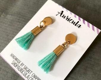 Teal Tassel Earrings : Gold Post Jewelry