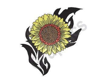 Tribal Sunflower - Machine Embroidery Design, Sunflower, Flower