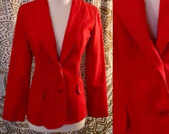 VTG 70s Orange Red Retro HAPPY LEGS Disco Suit Blazer Jacket Top S