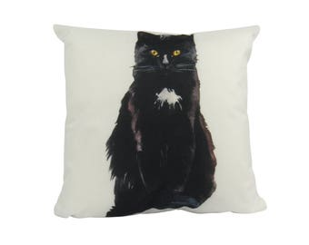 Black Cat | Pillow Cover | Cat Lover Gifts | Throw Pillow | Home Decor | Crazy Cat Lady | Gift for Her | 18 x 18 | Cat Decor Pillow | Cat