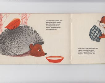 Childrens Picture Book  - Animal Book - made in USSR - Picture Book - Retro Illustrations by Lilian Härm - Childrens Nature Book - Estonian