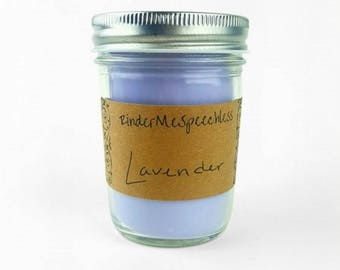 Lavender Soy Candle - 8 oz / Hand Poured / Homemade / Essential Oil Candle
