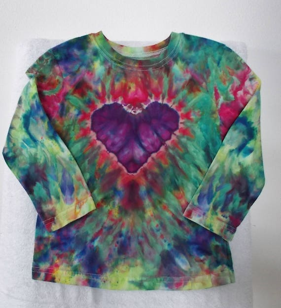 Toddler Tie Dye Shirts 3T long sleeve Valentines Gift Tie Dye Heart Ice Dye Heart shirt
