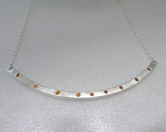 Curved Bar Necklace In Sterling Silver With Cognac Zircons - Handmade Necklace - Ready To Ship!