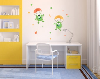 """Wall decal """"Parachutists Monsters"""" creatures aliens wall decals nursery boy"""