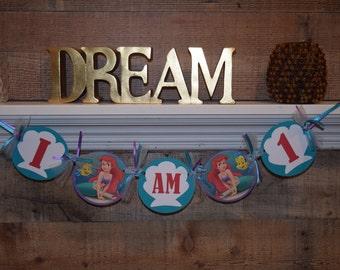 High Chair Banner, Birthday Banner, Little Mermaid Banner, 1st Birthday, Birthday High Chair, Little Mermaid First Birthday, I am One Banner