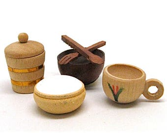 Dollhouse Kitchen Accessories , Shackman & Co., Wooden, Ice Bucket, Bowls, Cup, Salad Bowl, Miniature, Old Stock, 1:12 Scale