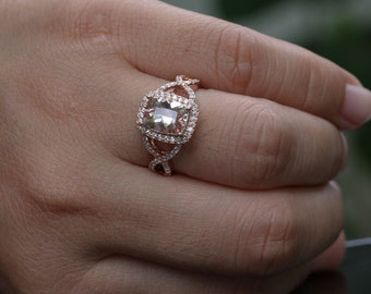 Rose Gold Morganite Engagement Ring Twisted Split Shank with Morganite Cushion 9x7mm and Diamonds in 14k Rose Gold