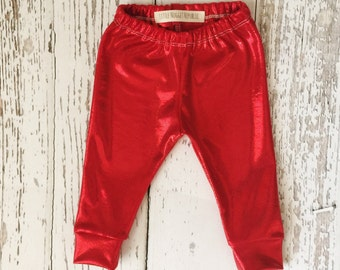 Metallic red baby leggings, baby leggings, valentines day leggings, toddler leggings, baby girl leggings