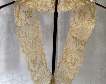 """Vintage Net Lace Collar V Neck Light Ecru 30""""s Cotton Machine Neck 24"""" Width 3"""" Antique Dolls Vintage Clothes"""