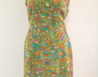Vintage 60s Floral Dress, 60s Mad Men Dress, 60s Mod Dress, 60s Midi Dress, 60s Green Dress, 60s Sleeveless Dress, Megan Draper Dress