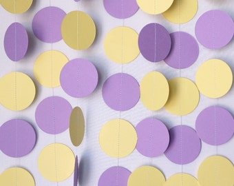 Light Purple and Yellow Garland, Baby Shower Decoration, 1st Birthday Party, Birthday Decor, Lavender and Yellow Paper Garland, 10 ft. long